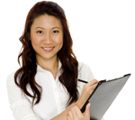 smiliing lady with a clipboard with a white background